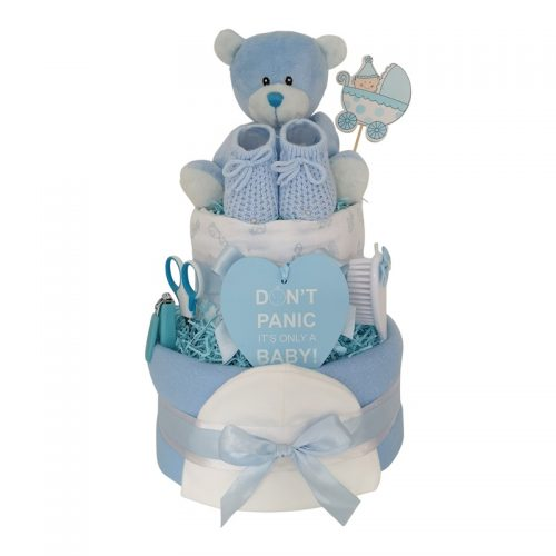 Baby Boy Two Tier Nappy Cake from Special Momentz Nappy Cakes