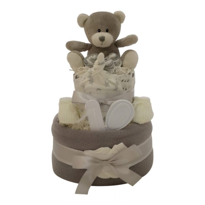 Grey two tier nappy cake from Special MOmentz Nappy Cakes
