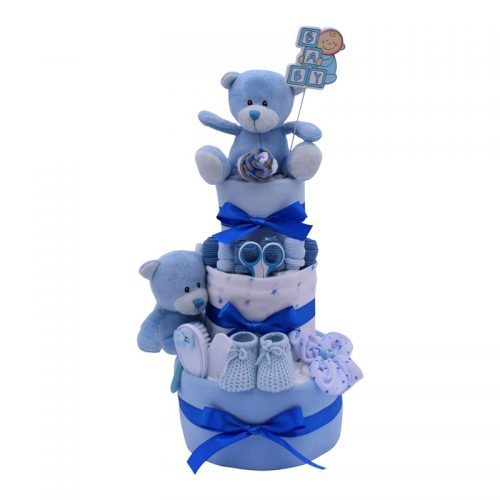 THREE TIER BLUE CAKE from Special Momentz nappy cakes