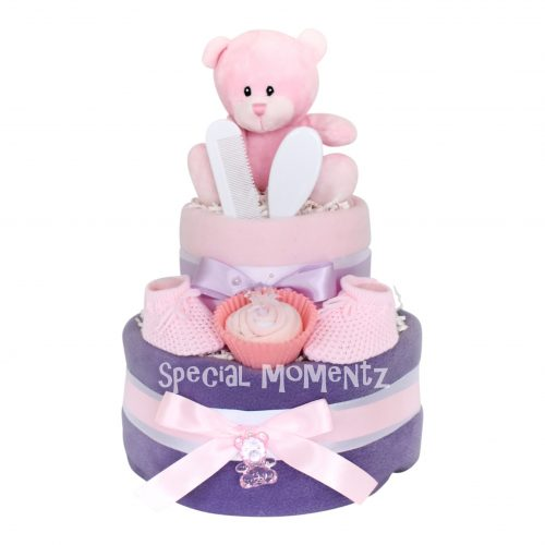 pink and purple nappy cake