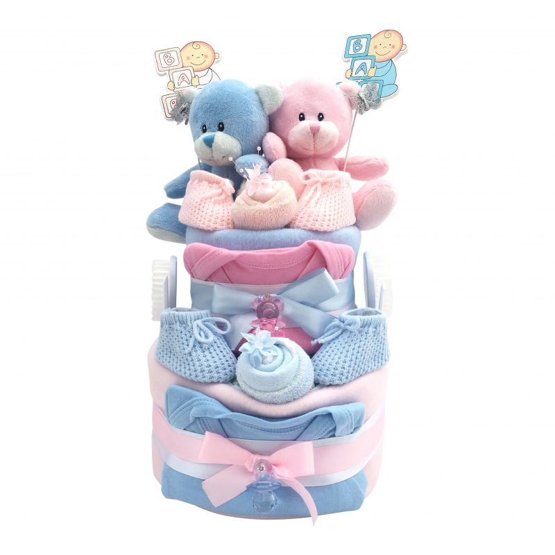 Blue and Pink Twins Nappy Cake