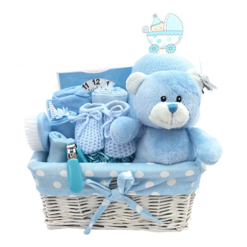 small blue hamper